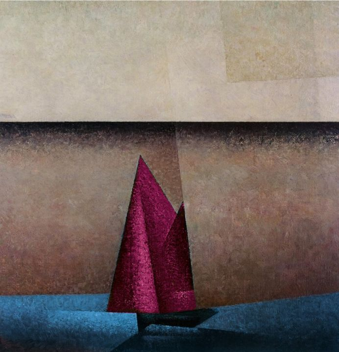 Pink Sails at Dawn Nautical Painting - Jeanpaul Ferro