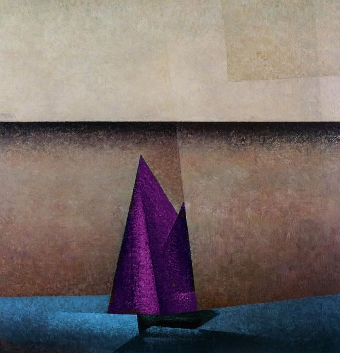 Purple Sails, Dawn Nautical Painting - Jeanpaul Ferro