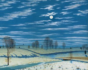 Winter Scene in Moonlight and Stars