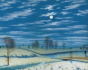 Winter Scene in Moonlight and Stars
