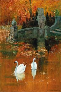 Swans in the Park, Autumn Foliage