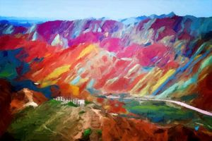 Rainbow Mountains, China landscape
