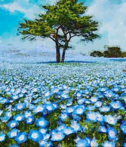 Blue Poppies, California landscape