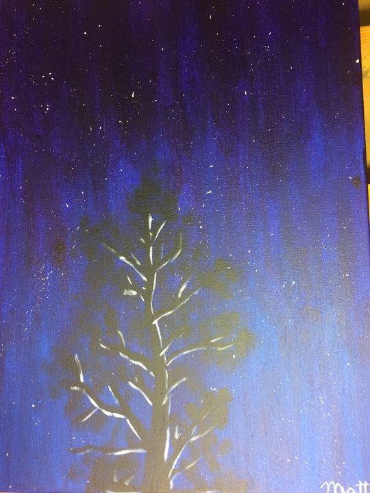 Night Sky with Tree - MattLampArt