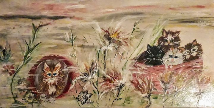 Kittens in the prairie - LC - Linda's Art