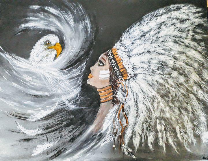 Beautiful native american woman - LC - Linda's Art