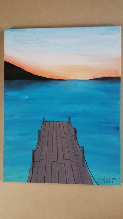 Sunset Pier Latishasartworkx Paintings Prints Landscapes Nature Beach Ocean Piers Artpal