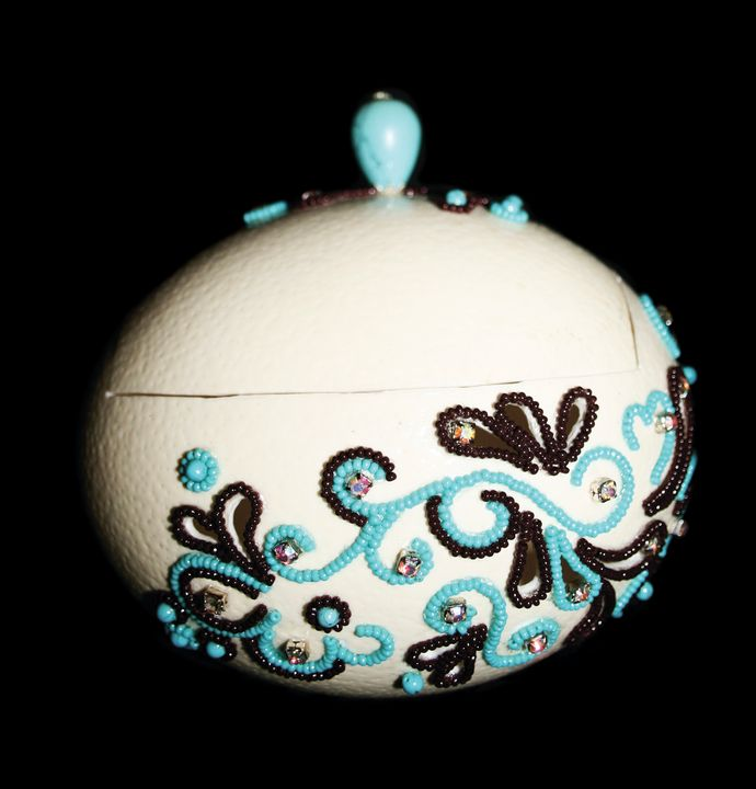 """Ostrich Egg Jewelry Box""""Turquoise"""" - Ostrich Hall"""