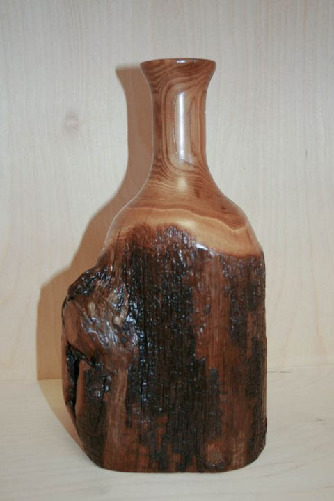 Hand Carved Wood Vase - Ostrich Hall