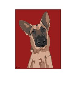 Graphic Art German Shepherd Dog