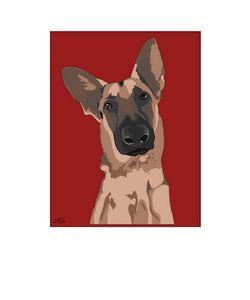 Graphic Art German Shepherd Dog