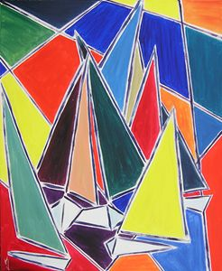 abstract painting sailboat seascape