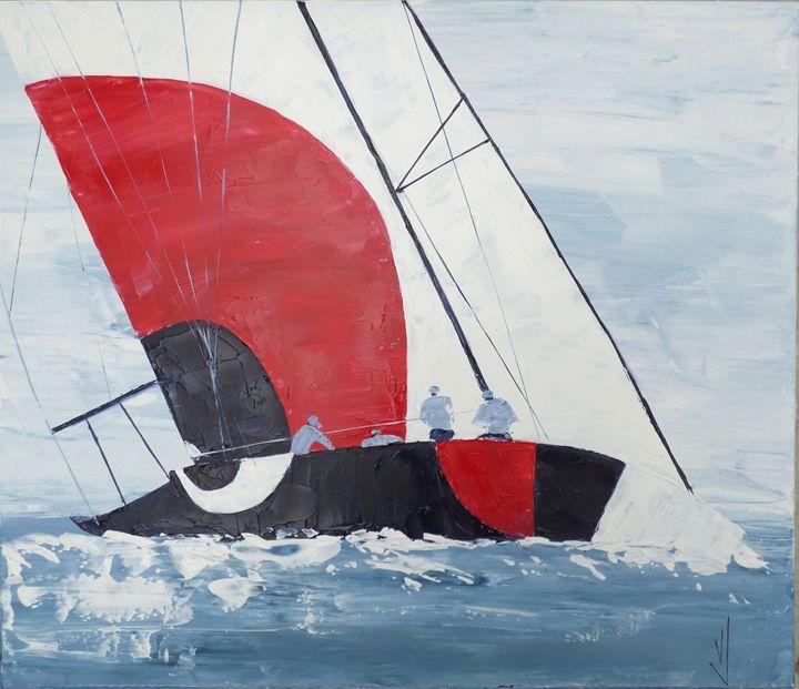 painting sailboat seascape - valérie jouve