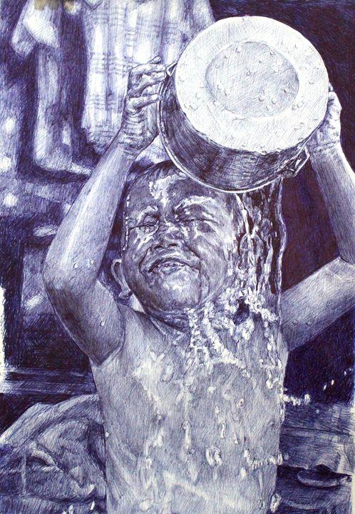 Urban Dweller Child taking a bath - Deborah Tomasowa