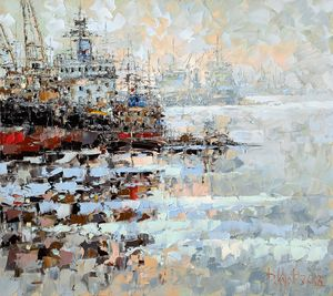 In the port on the Neva in winter - Dmitry Kustanovich