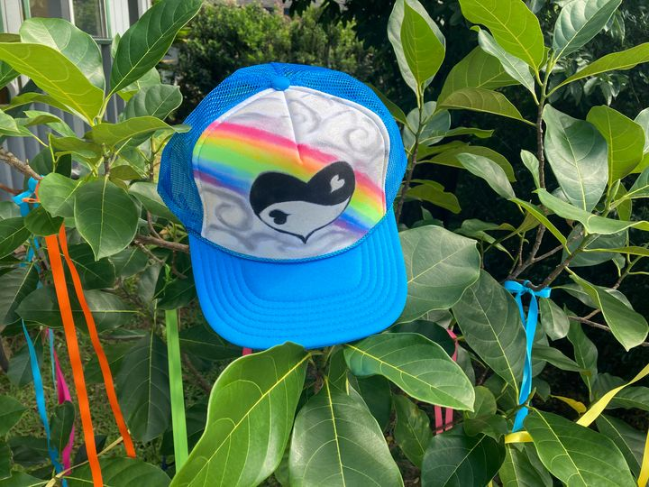Yin yang heart hat - Just Lupita aka Yaqui Yaiyai