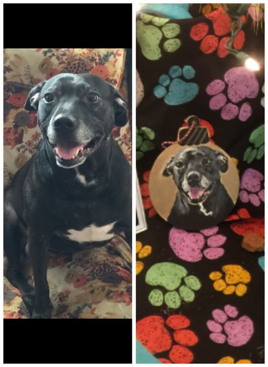 Custom painted round wooden ornament - Painted Paws by Cheryl