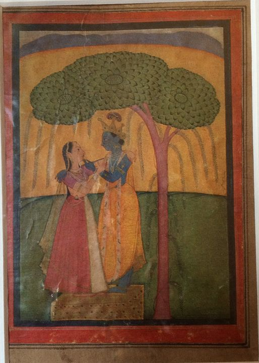 Radha and Krishna Standing Banyan - Kangra Miniature Paintings