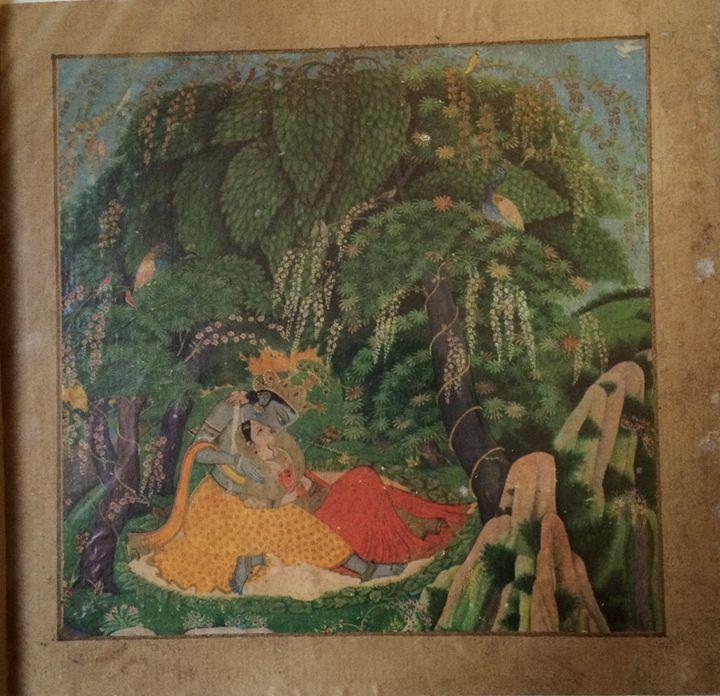 Radha and Krishna Under Banyan - Kangra Miniature Paintings