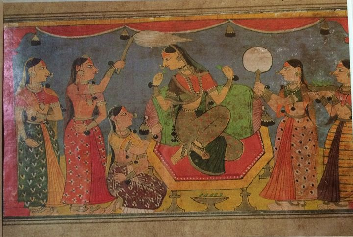 the queen and her consorts - Kangra Miniature Paintings