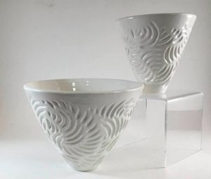 Hand carved white pots