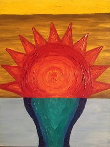 Birth of sun. Oil painting