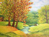 Golden Fall.Original oil painting.