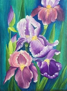 Irises. Oil painting.