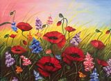 Oil painting. Poppies.