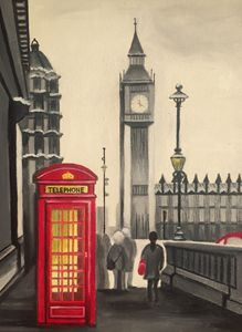 London. Original oil painting.