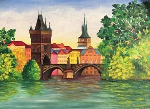 Karl's Bridge. Oil painting.
