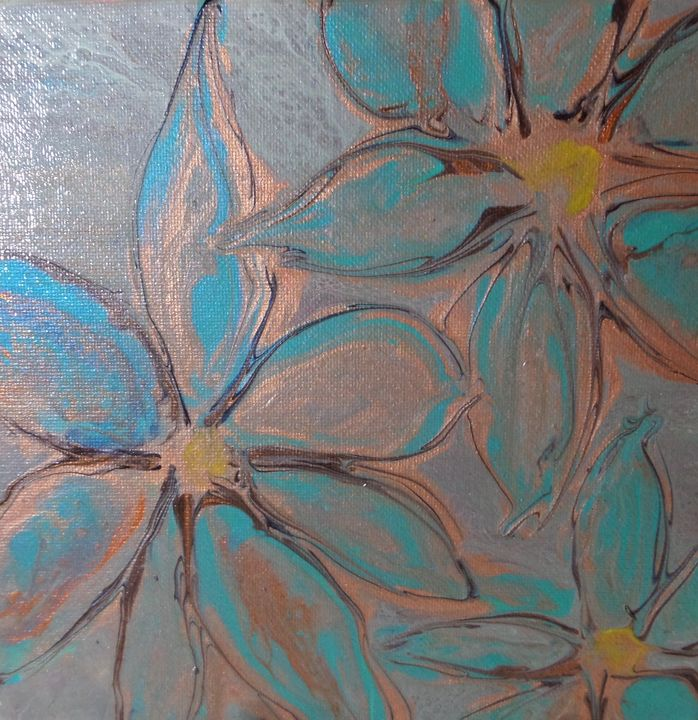 Poured Flower - Paint Pour from the Heart