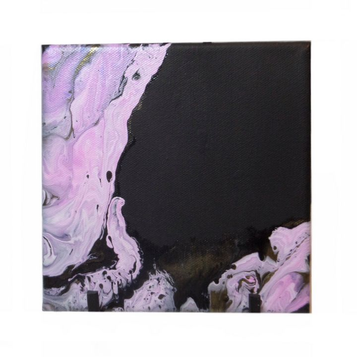 Pink and Black - Paint Pour from the Heart