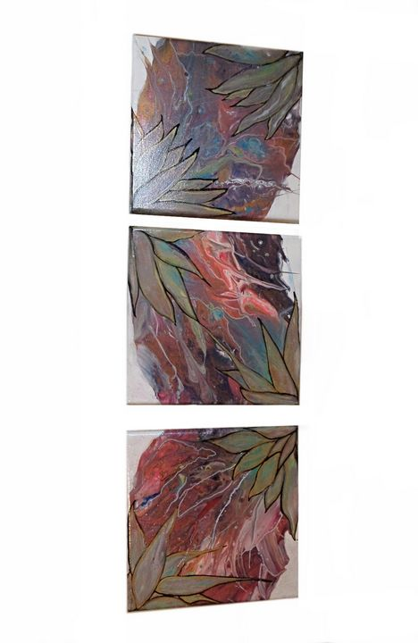 Star Plants set of 3 - Paint Pour from the Heart