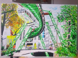 Oil paint drawing of schwebebahn at