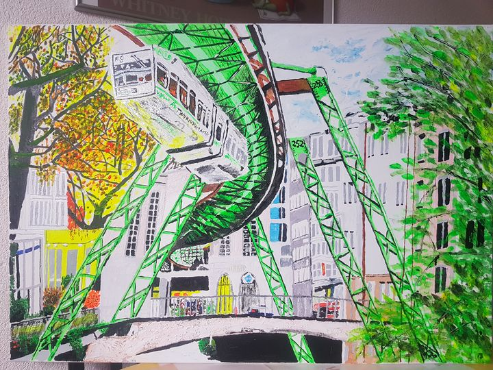 Oil paint drawing of schwebebahn at - Youngest