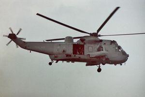 "RAF Sea King helicopter saying ""Hi"""