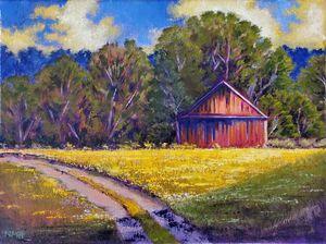 Old Barn on Yellow Field