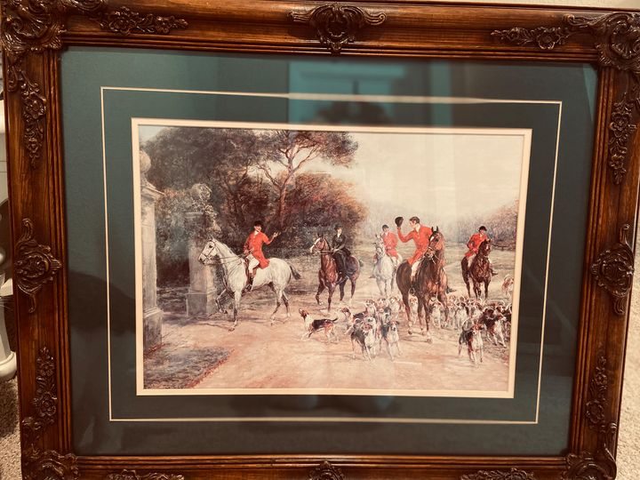 SOLD!Heywood Hardy wood-framed hunt - Julie Anderson Equine art