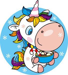 winter unicorn with mug of chocolate