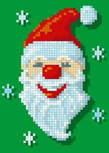 pixelited santa's face & snowflakes