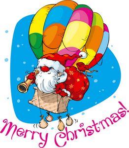 santa flying on air baloon