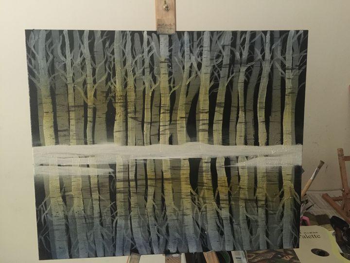 Birch Trees frozen lake reflections - Shilpa Sharma
