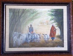 grils kept goats grazing - Shani Rufai with Paint