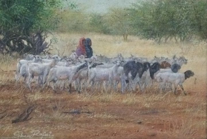 Girls keeping Goats - Shani Rufai with Paint