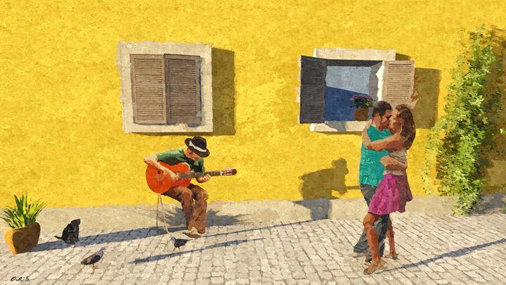 Dancing with guitar - Dori's Art