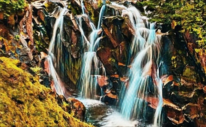 Mount Raineer Waterfall - Beautiful Stunning Art by Goodeyez