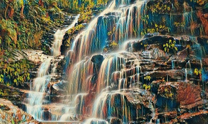 Mountain Waterfalls - Beautiful Stunning Art by Goodeyez
