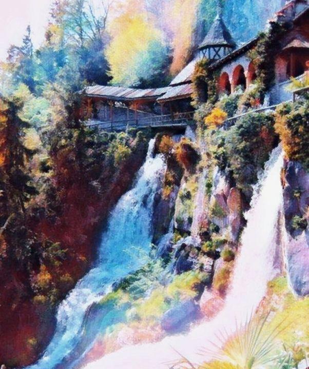 Waterfalls in Switzerland - Beautiful Stunning Art by Goodeyez