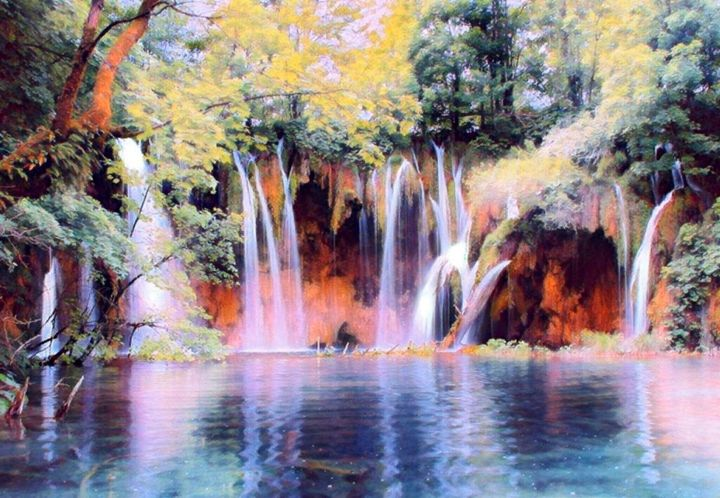 Forest Waterfalls - Beautiful Stunning Art by Goodeyez
